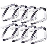Blooven 8 Stück Tischtuchklammern Edelstahl, Tischdeckenklammer Tischabdeckungsklemmen Tischdecke Clips Tischtuch Clips - Silber