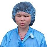 100 Stück Vlies-Einweg-Kappen für Damen und Herren, Kosmetologie, Fabrik, Catering, Küche, Krankenhaus, staubdicht, antistatisch, Haarabdeckung (blau)