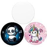 3 Stück Multifunktions-Halterungen und Ständer für Smartphones und Tablets – Panda Musik Einhorn Weiß
