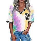 Buby Damen Tiefer V-Ausschnitt Tie Dye Farbblock Leopard Taschenbluse Poloshirts T-Shirt Damen Halbarm Loose Fit Sexy Elegante Tunika Tops Sommermode T-Shirt Blusen Tops Shirt