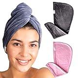 Baaw-Me Premium Haarturban| Anti FRIZZ & Anti Bruch | luxuriös Soft | 2 Stück Mikrofasertuch mit Knopf | Haartrockentuch Saugfähig Super Absorbent für Alle Haartyp