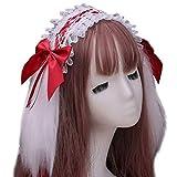 Beautiful crown Japaner Lolita Pelzige Kaninchen Hase Ohren Stirnband für Frau Mädchen Geschenke, Rüschen Spitze Ribbon Bowknot Süße Haarband Gothic Maid Cosplay Kopfschmuck, Modeschmuck Geschenke