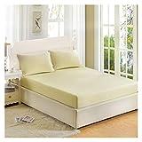 QIANGU Matratzenschutz Mit Röcken Matratzenschoner Unterbett Atmungsaktiv Null Stimulation Hautfreundlich Weiche Langlebige Schlafzimmer (Color : Milky White, Size : 150x200cm)