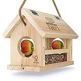 wildtier herz | Vogelfutterhaus M Handarbeit aus Natur-Holz für Gartenvögel wetterfest, naturbelassen | Vogelhaus zum Aufhängen im Garten und Balk
