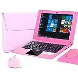 Laptop 10,1 Zoll Windows 10 Quad Core Mini Laptop Computer mit Tastatur AZERTY Netflix Youtube Bluetooth WiFi Webcam HDMI und Tasche für Laptop, Maus, Mauspad, Kopfhö