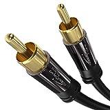 KabelDirekt – Cinch Subwoofer Kabel – 3m (Koaxialkabel geeignet für Verstärker, Stereoanlangen, HiFi Anlagen & andere Geräte mit Cinch Anschluss, 1 Cinch zu 1 Cinch)