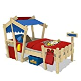 WICKEY Kinderbett Hausbett CrAzY Candy - rot/blaue Plane Holzbett 90 x 200 cm