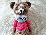 handgefertigte Baby Spieluhr für Mädchen - personalisierte Baby Geschenke - Teddy - Melodie:'schlaf Kindlein schlaf' - 24 cm - Braun/Pink- von ds-handmade