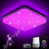 NIXIUKOL LED Deckenleuchte Dimmbar 24W RGB, Smart WiFi Deckenlampe mit APP-Steuerung, Kompatibel mit Alexa Google Home, Wohnzimmerlampe Schlafzimmerlampe Kinderzimmerlampe Sternenlicht 33cm