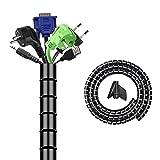 Kabelschlauch Spiralschlauch mit Kabelführungsclip für Kabelmanagement Kabelschutz Kabel Verstecken oder als Kabel Organizer Schwar(200cm)