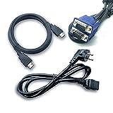 xianzhanEU 3 Stk 1,5m HDMI Kabel/VGA Kabel/Stromkabel(Full HD 4K/15-Polig/3-Polig) Kompatibel für Computer Desktop Laptop PC Monitor Projektor HDTV Usw