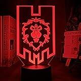 3D Illusionslampe LED Nachtlicht World Of Warcraft Alliance Flagge für Game Store Shop Schlafzimmer Dekor Einzigartiges Geschenk für Gamer USB Tischlamp