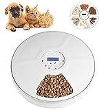 Lacyie Automatischer Futterautomat Katze nassfutter mit LCD und Timer,1-6 Mahlzeiten Geeignetes Nass-Trockenfutter für Katzen, Hunde Kaninchen und andere Haustiere