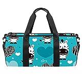 LAZEN Schulter Handy Sports Gym Taschen Travel Duffle Totes Tasche für Männer Frauen Cartoon Zebra Love Pattern