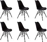 SAM 6er Set Schalenstuhl Lerche, schwarz, integriertes Kunstleder-Sitzkissen, Schwarze Metallfüße, Esszimmerstuhl im skandinavischen Stil