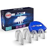 jinoo® dünne Aufbissschienen anpassbar, mit praktischer Aufbewahrungsbox I 4 Stück I DERMATEST: SEHR GUT I Ideal als Zahnschiene gegen Zähne-Knirschen (Knirscherschiene) & als Zahnschutz für Sport