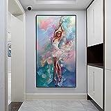 Abstrakte Tanzen Ballerina Leinwand Malerei Ballett Mädchen Poster und Drucke Wandkunst Bild für Wohnzimmer Wohnkultur 60x100cm Rahmenlos