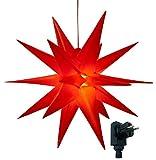 3D Leuchtstern inkl. warm-weißer LED Beleuchtung   für Innen und Außen geeignet   hängend   7,5 m Zuleitung   ca. 57x44x48 cm (Rot)