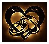 Hochzeitsgeschenke Personalisiert Led Licht Brautpaar Lampe Herz-en Ring-e Partner Geschenk-e für-s mit Name-n Datum zum Jahrestag Hochzeit Verlobung Ich liebe dich Männer Frauen