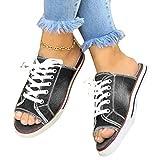 Yusea Damen Sandalen, One Pedal Canvas Hausschuhe Bequeme Flache Sandalen für Sommer Party