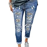 Chenlao7gou621 Stitched Washed Casual Jeans Damen Slim Cropped Hose