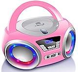 CD-Player mit LED-Beleuchtung | Kopfhöreranschluss | Tragbares Stereo Radio | Kinder Radio | Stereoanlage | USB | CD/MP3 Player | FM Radio | Kopfhöreranschluss | Aux In (Pretty Kitty Pink)