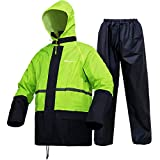 Regenanzug, Regenkleidung für Herren und Damen, wasserdicht, Arbeit, leicht, Regenbekleidung (Jacke und Hose), fluoreszierend, Large