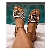Youpin 2021 Sommer Neue Frau Schuhe Sommer Hausschuhe Outdoor Flache Sandalen Strand Mode Schnalle Solide Farbe Plus Größe 41 (Color : Leopard Print, Shoe Size : 10)