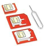 Wicked Chili SIM Adapter Set (4in1 Adapter Set für Micro SIM, Nano SIM, Standard SIM, Eject Pin/SIM Nadel) für Handy, Smartphone und Tablet (Passgenau, Click-Sicherung)