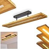 LED Deckenleuchte Adak, dimmbare Deckenlampe aus dunkeln Holz und Metall in Dunkelgrau, 27 Watt, 3000 Lumen max, 3000 Kelvin, moderne Zimmerlampe, dimmbar über den L