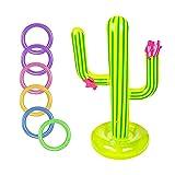 NSXIN Aufblasbares Ringwurfspiel Set, Kinder Pool Tauchspielzeug Set Schwimmenden Schwimmen-Kaktus-Ring, Kaktus Pool Spielzeug für Sommer Party (9 Stücke)