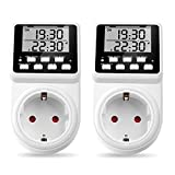2 x NOVKIT Intervall Digitale Zeitschaltuhr Steckdose mit unendlichem Zyklus, 3 Tages-Programmen und Countdown für Innen (230V / 16A / 3600W)