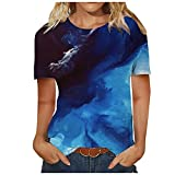 Kurzarm Shirt Damen Mädchen Top Mode Blusen Casual Rundhals Shirt Sonne und Mond Grafik Drucken Tshirt Tops Oversize Kurzarm Oberteile Dark Blue A10 Dunkelblau