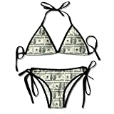 QUEMIN Sexy Bikini Zweiteilige Badeanzüge, 100-Dollar-Schein, Verstellbarer Halsausschnitt Badeanzüge mit hoher Taille für Frauen, Größe M