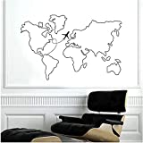Wandaufkleber Kunst Aufkleber Kunst Weltkarte Karte Umriss Flugzeug Route Reise Heimtextilien 89X57Cm
