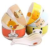 Yaeele Nordeuropa Nach Hause Keramik Bowl 6 Satz Cartoon Schüssel nett Reisschüssel Kinder Reisschüssel Kombination kreatives Korean Geschirr Mikrowelle Geschirr Geschenk-Box-Set (Farbe: MULTI, Größe: