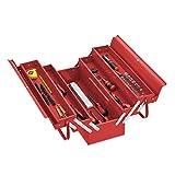 Relaxdays Werkzeugkoffer leer, 5 Fächer, mit Tragegriff, Metall, abschließbar, Werkzeugkasten, HBT: 21 x 53 x 20 cm, rot