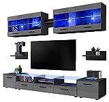 ClickFurniture Bronx Schrankwand für das Wohnzimmer (Schwarzer Körper mit Grau Tür (Glanz), mit Blau LED Lichten)