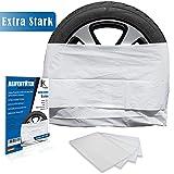 JK Trade® EXTRA Starkes 4-teiliges Premium Reifentüten Set zur Reifen Aufbewahrung & Lagerung Ihrer Autoreifen, Reifensack Set, Felgen Tasche, passend für 16, 17, 18, 19, 20 Zoll (Weiß)