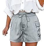 Ganbadie Damen-Shorts, Sommerhose, lässig, hohe Taille, mit Schnürung, Rock, Geldbörse, Lounge, Schwangerschaft, kurz, eine Hose Gr. Small, grau