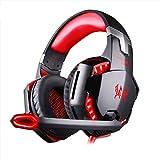 Gaming-Headset, Stereo-Gaming-Headset mit Mikrofon für PS4, Geräuschunterdrückung, kabelgebunden, Over-Ear-Kopfhörer, 3,5-mm-Klinkenstecker, für Xbox One PC, Laptop, Tablet, Mac, Smartphone, Rot