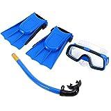 Kinder Schnorchel Set Tauchen Set Schwimmbrille Atemschlauch mit Flippers für Jungen-Mädchen-Blau