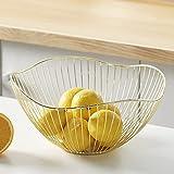 Obstkorb Metall, Aufbewahrung für Gemüse, Snacks und Brot, Dekorativer Obstschale Vintage, 27 x 13cm, Gold