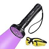UV Taschenlampe Schwarzlicht 100 LEDs 395nm Ultraviolet Lampe mit UV-Schutzbrille Mini Ultraviolett Licht Urin detektor für Hunde & Katzen, Aufsuchen von Fleck auf Teppichen, Gardinen, Mb