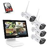 ANNKE 3MP WLAN Überwachungskamera Set mit 10.1 Zoll Monitor, 4CH 5MP NVR und 4x1296P IP Kameras Außen mit 2TB Festplatte unterstützt IR-Nachtsicht, Audioaufzeichnung, kompatibel mit Alexa