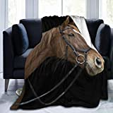 Cap pillow Fleecedecke 127 x 152,4 cm – Pferde-Maulkorb Bay Home Flanell-Fleece weich warm Plüsch Überwurf Decke für Bett/Couch/Sofa/Büro/Camping