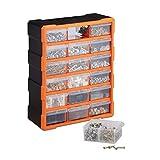 Relaxdays Kleinteilemagazin, Wandmontage, Werkstatt, groß, 18 Schubladen, Kunststoff, HBT: 47x38x16 cm, orange-schwarz