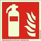 Hochwertiges Feuerlöscher Schild nachleuchtend Feuerlöscher-Symbol-Schild F001, Kunststoffplatte mit selbstklebender Schaumschicht - EXTRA-N rot, 150 x 150