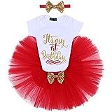 Fymnsi Baby Mädchen 1/2/1/2. Geburtstag Tutu Set Kurzarm Body Strampler + Tutu + Haarband Party Kleidung 1/2/1/2/2. Geburtstag Abendkleid Fotografie Kleid 3-teilig Gr. 1 Jahre, Rot zum 1. Geburtstag.