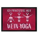 speecheese Ich praktiziere Hier Wein-Yoga - Fußmatte mit Yoga-Korkenziehern